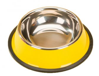 Dog Bowl Single Bowl Cat bowl Stainless Steel Dog Bowls Cat Food Bowls Yellow