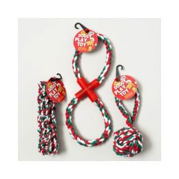 Christmas Dog Toy Rope Chews - 3 Assorted Case Pack 48