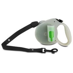 PAW Bio Retractable Leash with Green Pick-up Bags, Glow in the dark