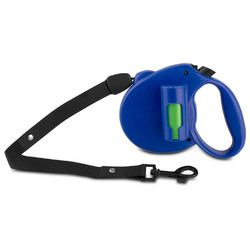 PAW Bio Retractable Leash with Green Pick-up Bags, Blue