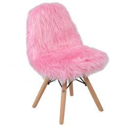 Kids Shaggy Dog Accent Chair (Option: Light Pink)