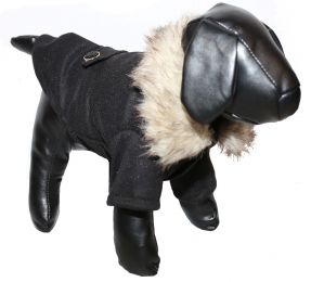 Buttoned 'Coast-Guard' Fashion Faux-Fur Collared Wool Pet Coat (Option: X-Small)