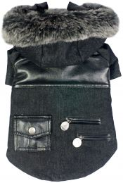 Ruff-Choppered Denim Fashioned Wool Pet Coat (Option: X-Small)