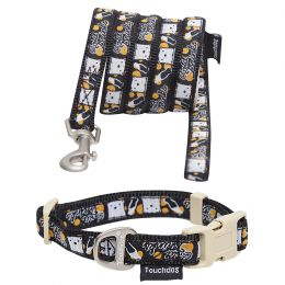 Touchdog 'Caliber' Designer Embroidered Fashion Pet Dog Leash And Collar Combination (Option: Size Small,Color Black Pattern)