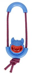Pet Life Sling-Away Treat Dispensing Launcher With Natural Jute, Squeak Rubberized Dog Toy (Option: Color Blue)