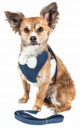 Pet Life  Luxe 'Pom Draper' 2-In-1 Mesh Reversed Adjustable Dog Harness-Leash W/ Pom-Pom Bowtie (Option: X-Small)