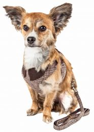 Pet Life  Luxe 'Houndsome' 2-In-1 Mesh Reversible Plaided Collared Adjustable Dog Harness-Leash (Option: X-Small)
