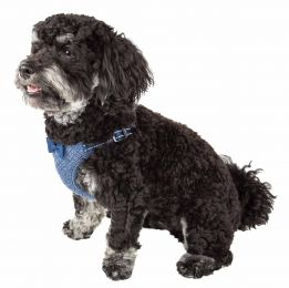Pet Life  'Flam-Bowyant' Mesh Reversible And Breathable Adjustable Dog Harness W/ Designer Bowtie (Option: X-Small, Navy)